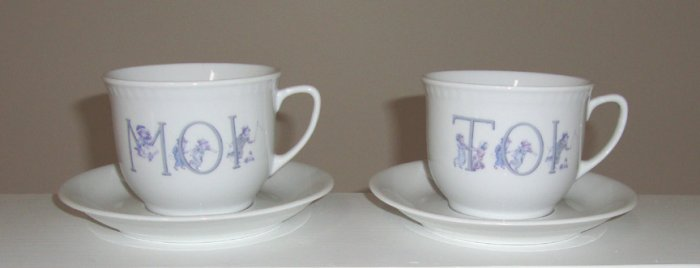 Carte Blanche Porcelain Cup and Saucer Set of 2 - Moi and Toi
