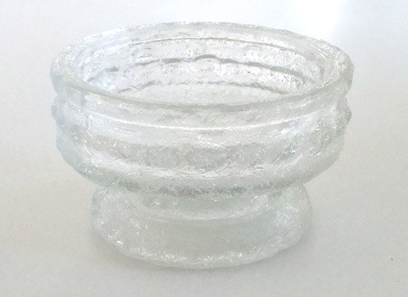 Vintage E.O. Brody Clear Glass Candle Holder Flower Ring Cracked Ice