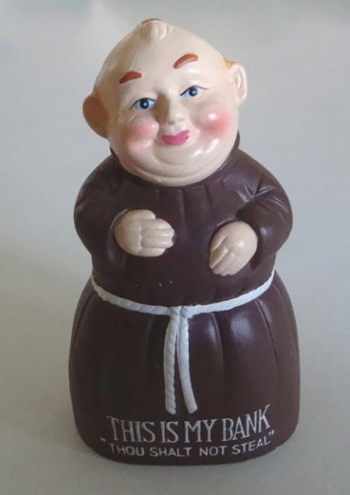 """Vintage Ceramic Monk Bank - This is my bank """"Thou shalt not steal"""" MIJ"""