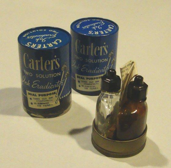 Vintage Carter's No. 492 Two Solution Ink Eradicator w/ Original Tin Canister - Set of 2