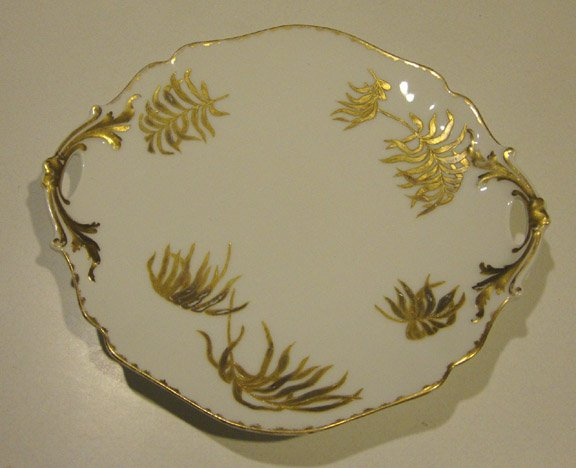 Antique 1905 Delinieres & Co Limoges Porcelain Blank Handpainted Gold Palm Leaves Cake Plate