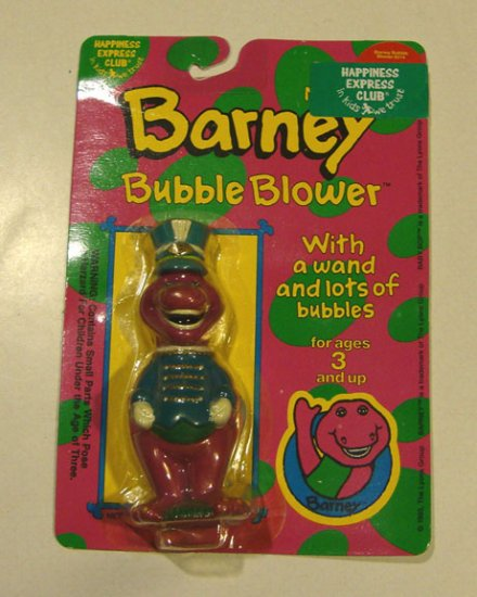 Vintage 1993 Barney the Purple Dinosaur Bubble Blower Mint in Orig. Package