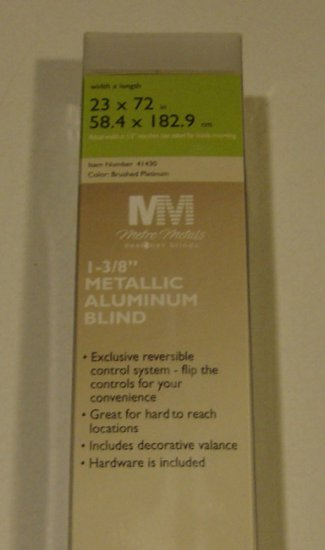 "New 1 3/8"" Metallic Aluminum Blind Brushed Platinum 23"" x 72"""
