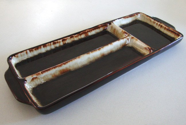 Vintage PFALTZGRAFF Gourmet Brown Drip 3-Part Relish Rectangle Tray