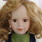 """Vintage NJSF 18"""" Porcelain Doll with Embroidered Linen Smock Dress"""