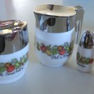 Vintage 1970-80s Gemco Corning SPICE O LIFE Sugar Bowl, Creamer, Salt & Pepper Shakers
