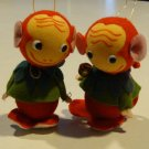 Vintage Felt Monkey Ornaments - Set of 2 Made in Japan