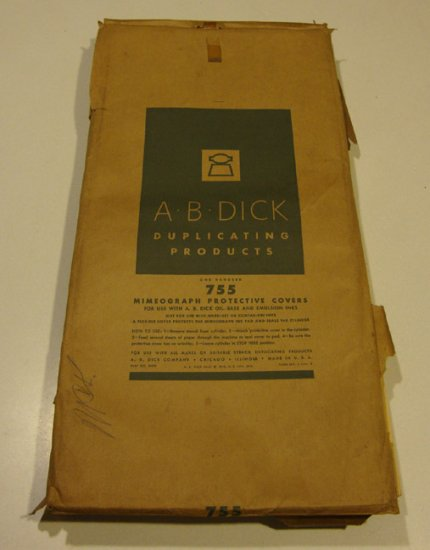 Vintage A.B. Dick Mimeograph Protective Covers No. 755
