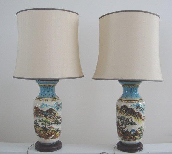 Vintage Hand Painted Oriental Ceramic Large Table Lamp Set of 2