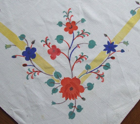 """Vintage Cotton Floral Printed Card Table Tablecloth - 33"""" x 36"""""""