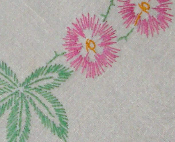 "Vintage Hand Embroidered Floral Tablecloth 48"" x 48"""