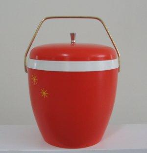 Vintage Orange Plastic Ice Bucket