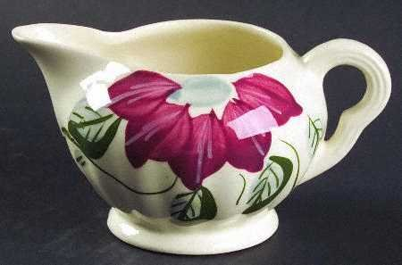 Vintage Blue Ridge Poinsettia Creamer and Sugar Bowl with Lid