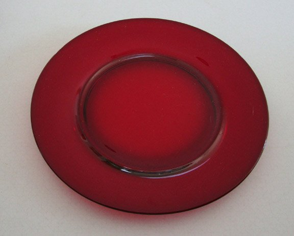 Vintage Ruby Red Glass Dinnerplate 9""