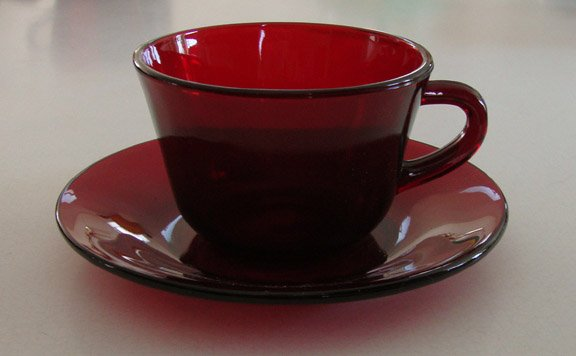 Vintage Ruby Red Glass Cup & Saucer