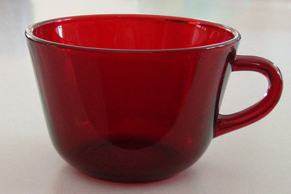 Vintage Ruby Red Glass Cup - Set of 2