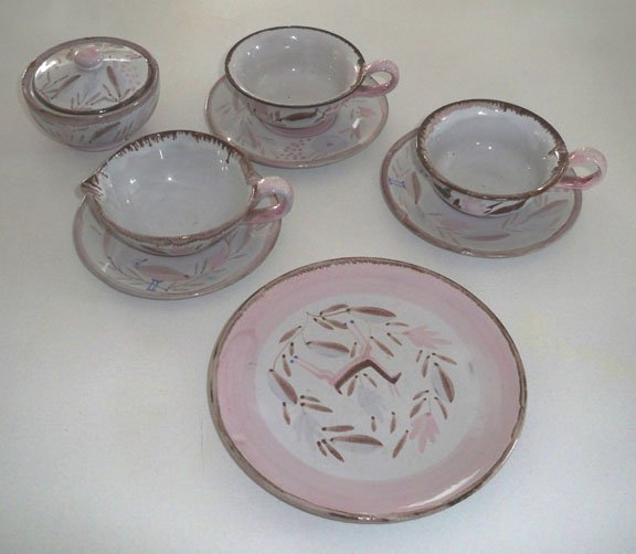 Vintage Majolica Creamer, Sugar Bowl with Lid, 2 Cups w/ Saucer & Plate Made in Germany