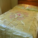Vintage 40's WWII Yellow Satin Embroidered Bedspread & Shams