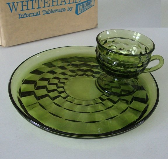 Vintage Colony Glass Co Whitehall Olive Green Snack Plate