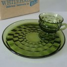 Vintage Colony Glass Co Whitehall Olive Green Snack Plate & Cup - Set of 4 MIB