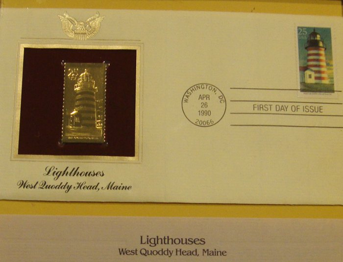 Vintage 1990 Postal Commemorative Society West Quoddy Head Lighthouse First Day Cover with Frame