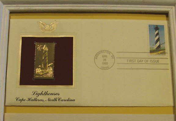 Vintage 1990 Postal Commemorative Society Cape Hatteras Lighthouse First Day Cover with Frame