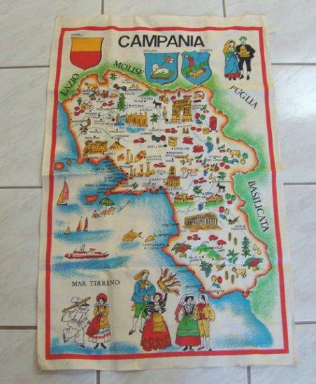 Vintage Campania Souvenir Map Tea Towel