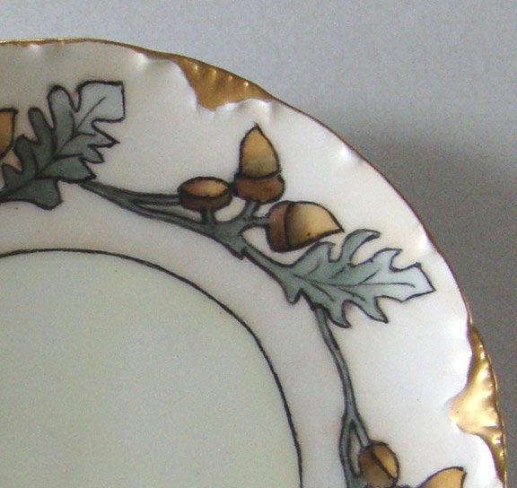 Vintage R.C. Bavaria Versailles Hand-Painted Acorn & Oak Leaves Cabinet Plate