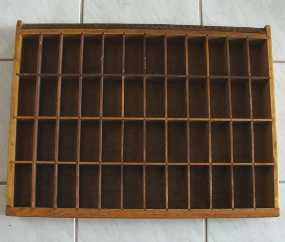 """Vintage Typesetters Drawer 19"""" x 25 1/2"""" x 2 3/4"""""""
