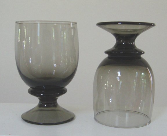 Vintage Smoke Glass Water Goblet Set of 4