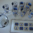 Vintage Nautical Blue Gold Pitcher with Serving Tray & 7 Tumblers