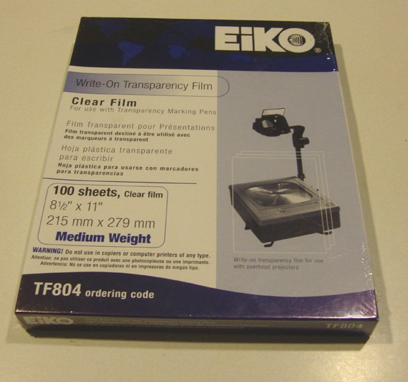 EiKO #TF804 Write On Transparency Film Medium Weight Set of 3 - 100 Sheets / Box