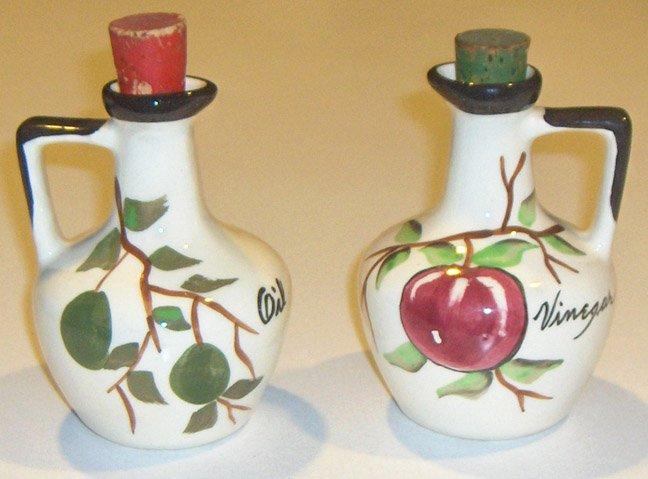 Vintage Handpainted Cruet Set - Apple Vinegar & Olive Oil