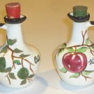 Vintage Handpainted Cruet Set - Apple Vinegar & Olive Oil