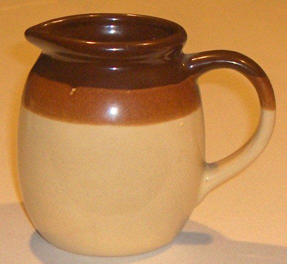 Vintage Stoneware Creamer Pitcher -  Tan, Orchre, Chocolate Brown
