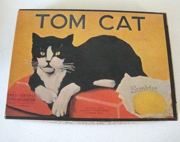 Vintage 1972 Hoi Polloi Inc. Great American Crate Art Tom Cat Puzzle - 500 Pieces