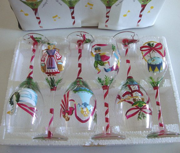 2003 Block Crystal 12 Days of Christmas Water Glass Set of 12