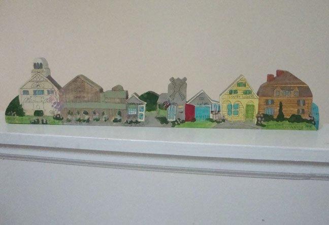 Vintage 1992 East Orleans Village MA Wood Miniature Buildings Main Street Shops - Hand Painted