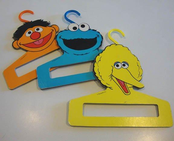 Vintage Muppets Inc. Baby Clothes Hanger Big Bird, Ernie & Cookie Monster