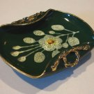 Vintage Dk Green Gold Floral Ceramic Candy or Nut Dish - Italy