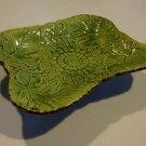 Vintage Embossed Leaf Floral Ceramic Footed Candy Dish
