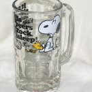 """1965 United Features Syndicate Snoopy & Woodstock """"It never fails..."""" Glass Rootbeer Mug"""