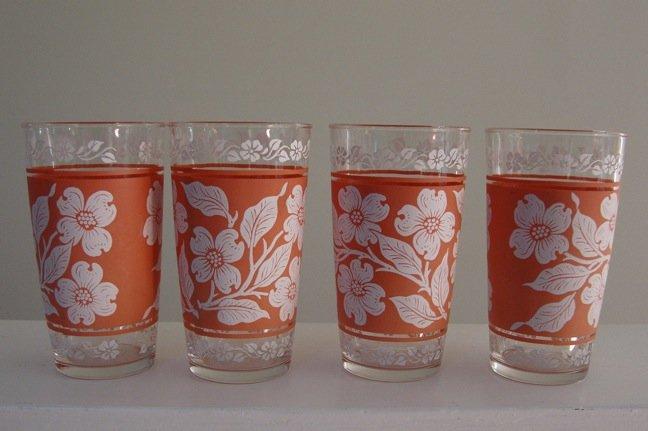 Vintage Hazel Atlas Pink / White Dogwood Tumblers - Set of 4