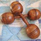Antique Wood Dumbbell Pair