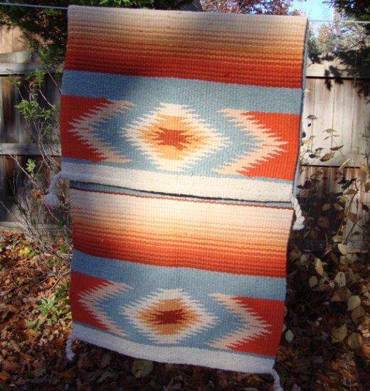 Vintage Southwest Design Wool Saddle Blanket Or Rug