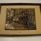 Vintage 1960s San Francisco Cable Car 3D Molded Relief Copper Finish with Burlap Frame