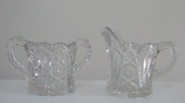 Vintage EAPG Imperial Glass Company Nu-Cut #212 Creamer & Sugar Set