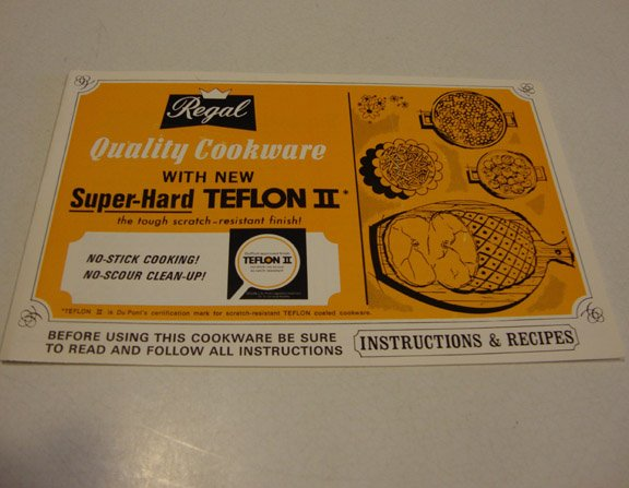 Vintage 1970s Regal Teflon II Recipes Instruction Manual Booklet