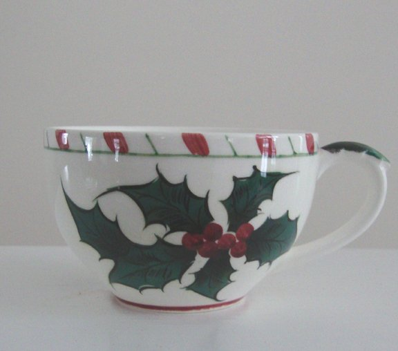 Vintage Lefton #026 Green Holly Cup (No Saucer) Set of 5
