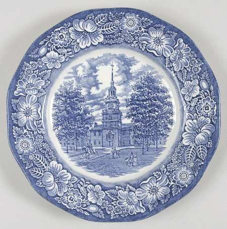 Staffordshire Ironstone Liberty Blue Dinner Plate Independence Hall